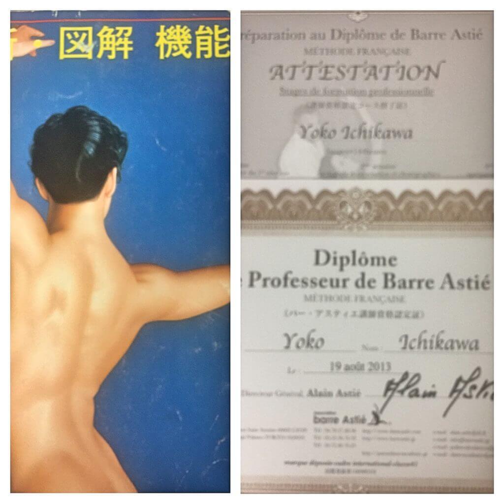 20年前の解剖学の教科書と資格証書